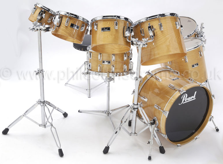Phil Collins Pearl BLX  Birch Custom Concert Tom Kit - Rhythm Magazine Photo Shoot 2010 - Image © Graham Collins / Rhythm Magazine